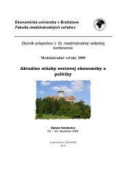 2009 - Fakulta medzinárodných vzťahov - Ekonomická univerzita v ...