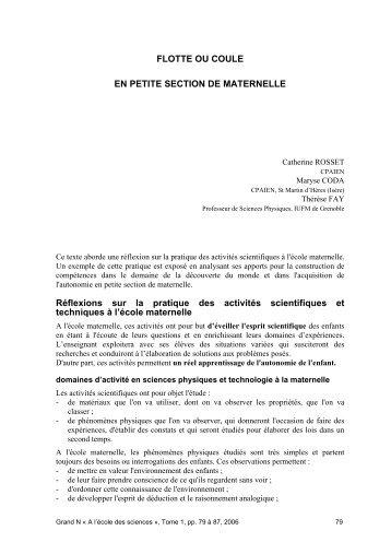 FLOTTE OU COULE EN PETITE SECTION DE MATERNELLE ...