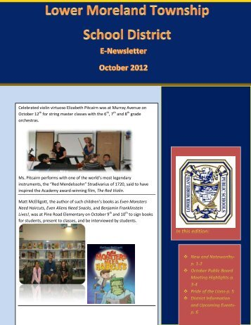 October 2012 Newsletter - Lower Moreland Township School District