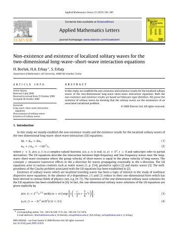 Non-existence and existence of localized solitary waves for the two ...