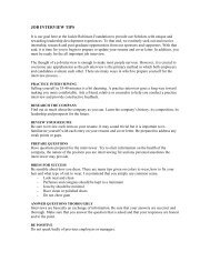 JOB INTERVIEW TIPS - The Jackie Robinson Foundation