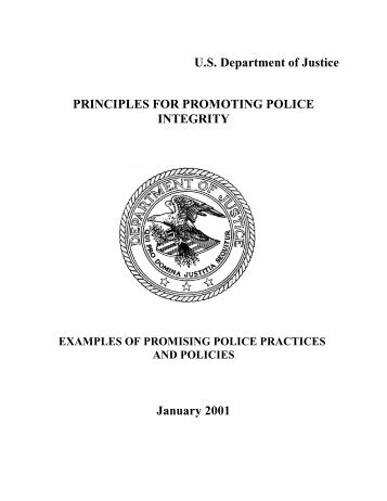 Principles for Promoting Police Integrity - National Criminal Justice ...