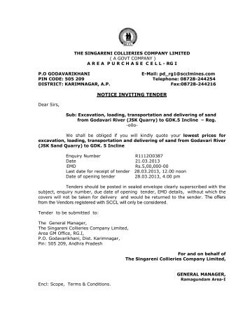 NOTICE INVITING TENDER from the Vendors registered with SCCL ...