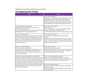 Vortragsprogramm Freitag - WOHIN HEUTE