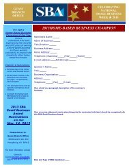 2013 Home Based Business Champion of the Year Nomination Form
