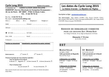 Les dates du Cycle Long 2015