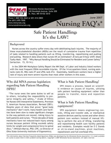 No 23 - Safe Patient Handling.indd - Minnesota Nurses Association