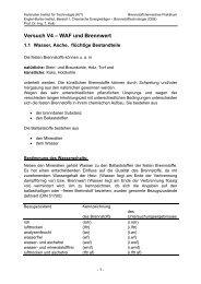 Versuch V4 – WAF und Brennwert - Engler-Bunte-Institut - KIT
