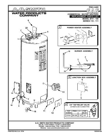 Replacement Parts List - AO Smith Water Heaters