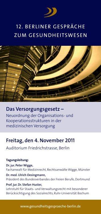 12. Berliner Gesundheitsgespräche 2011 - Berliner Gespräche zum ...