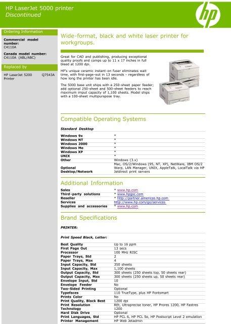 HP LaserJet 5000 printer Discontinued Wide-format