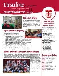 2012 Art Show April Athletic Signing Sister ... - Ursuline Academy
