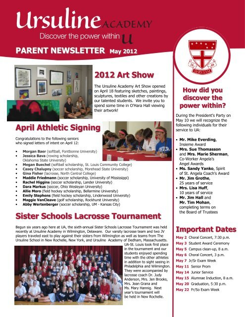 2012 Art Show April Athletic Signing Sister ... - Ursuline Academy