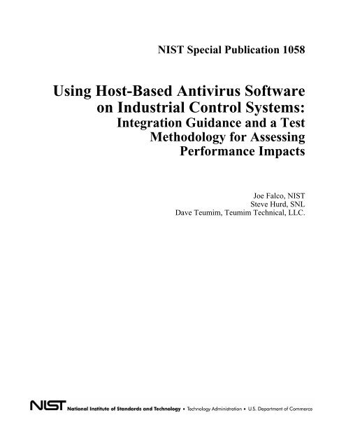 Using Host-Based Antivirus Software on Industrial Control
