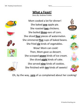 First Grade Comprehension Worksheet