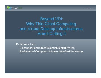 Beyond VDI: Why Thin-Client Computing and Virtual Desktop - Usenix