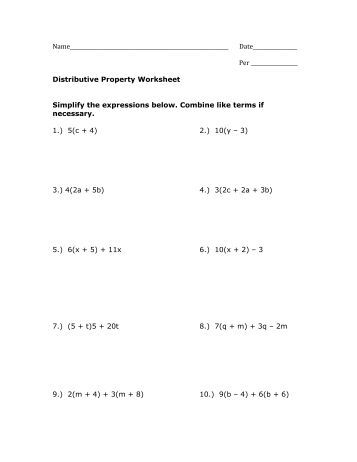 Worksheets Distributive Property Worksheets Pdf classwork combining like terms distributive property worksheet pdf mrwalkerhomework