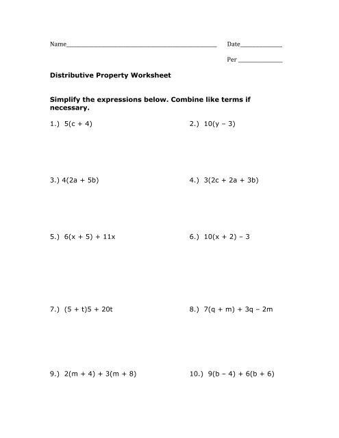 Distributive Property Worksheet Pdf Mrwalkerhomework