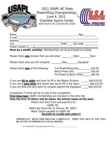 2011 USAPL NC State Powerlifting Championships June 4, 2011 ...