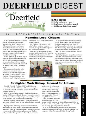December/January Edition - Deerfield Township, Ohio