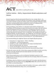 Call for Articles – Heft 5: Improvisierte Musik analysieren und ... - Act
