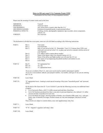 Customs Form 3299 - U-Pack