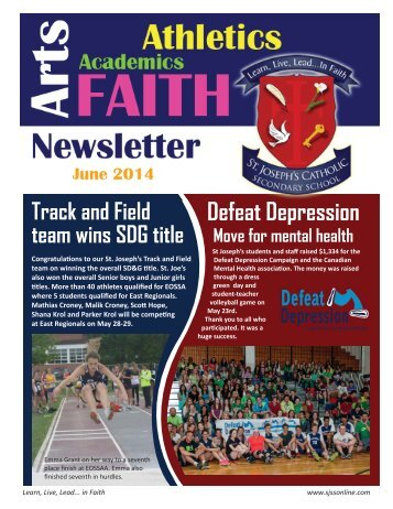 monthly newsletter - St. Joseph's Catholic Secondary School