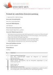Protokoll der ordentlichen Generalversammlung - USO