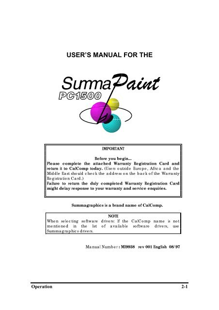USER'S MANUAL FOR THE - Summa Online