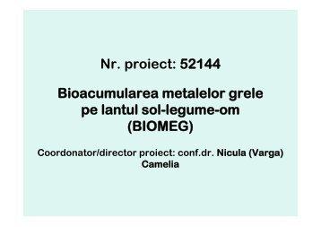 bioacumularea metalelor grele in lantul sol-legume