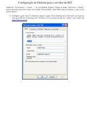 Configuração do Outlook para o servidor da SET