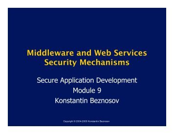 Middleware and Web Services Security Mechanisms - LERSSE