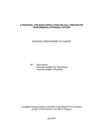A Proposal for Developing A Paid-On-Call ... - US Fire Administration
