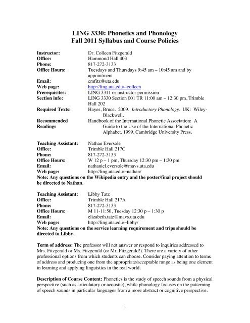 LING 3330: Phonetics and Phonology Fall 2011 Syllabus and Course