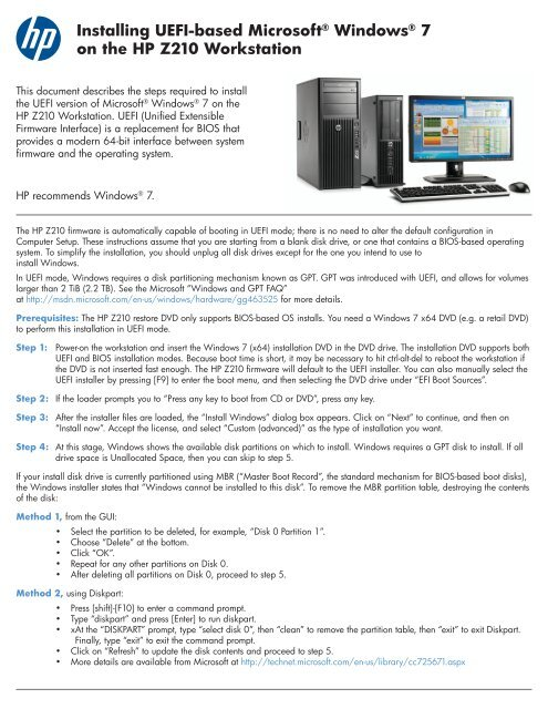 Installing UEFI-based Microsoft® Windows® 7 on the HP Z210