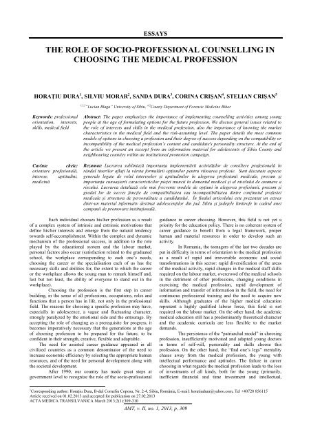 the role of socio-professional counselling in choosing the medical ...