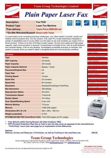 Plain Paper Laser Fax - Team Group Technologies