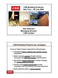 Site visit presentation to analysts - July 2004 - CSR