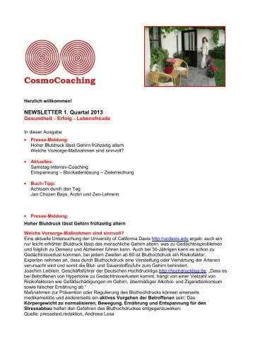 NEWSLETTER 1. Quartal 2013 - CosmoCoaching