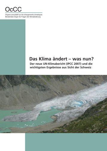 Das Klima ändert – was nun? - ETH Zürich