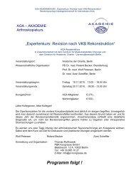 AGA Akademie Knie Programm folgt