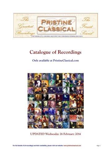 Catalogue of Recordings - Pristine Classical