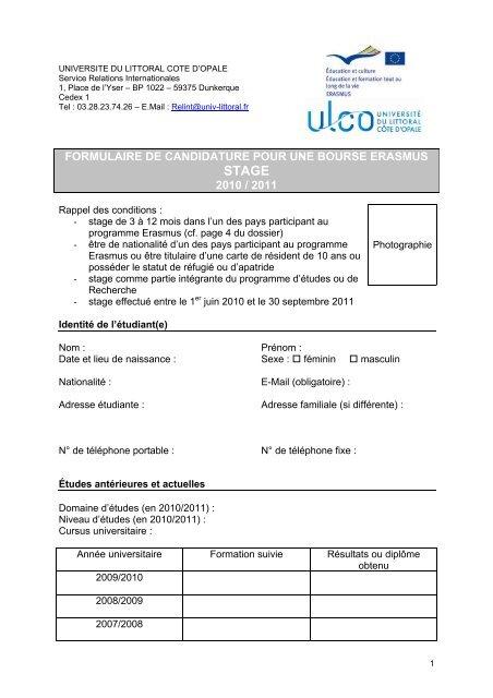 Formulaire De Candidature Bourse Erasmus Universitã Du