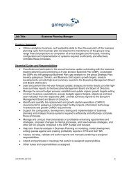 1 Job Title: Business Planning Manager Position Summary ... - BPW