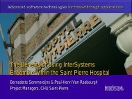 The benefits of InterSystems Ensemble within the Saint-Pierre Hospital
