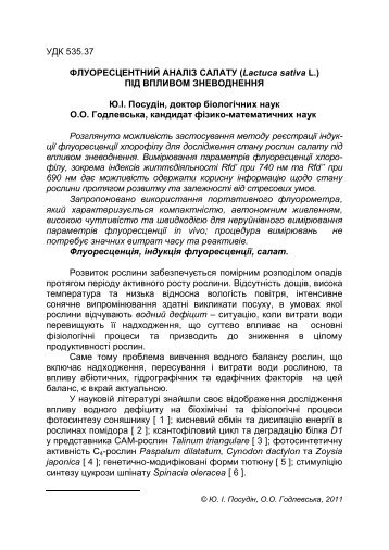 ФЛУОРЕСЦЕНТНИЙ АНАЛІЗ САЛАТУ (Lactuca sativa L.)