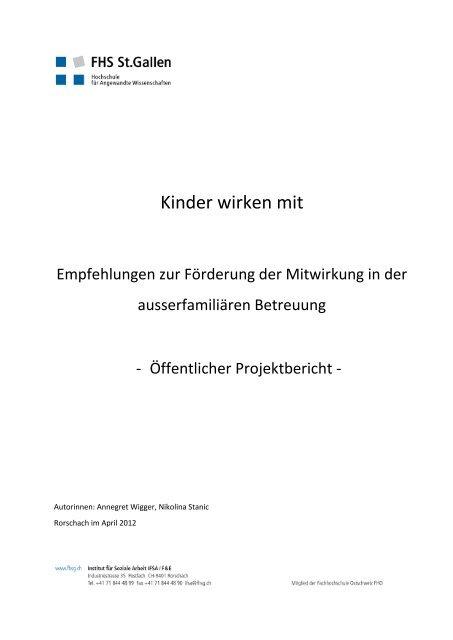 Projektbericht «Kinder wirken mit - Amt für Soziales - Kanton St.Gallen