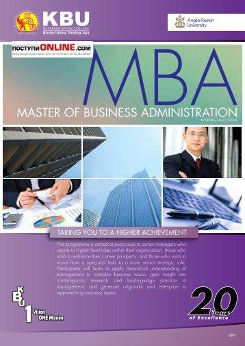 MASTER OF BUSINESS ADMINISTRATION - postupionline.com