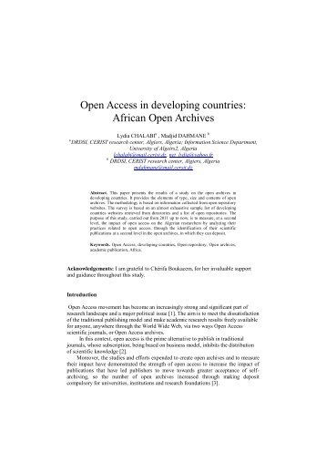 Open Access in developing countries: African Open Archives