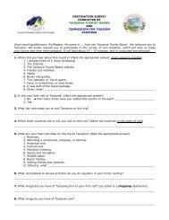 questionnaire - Tanzania Tourist Board